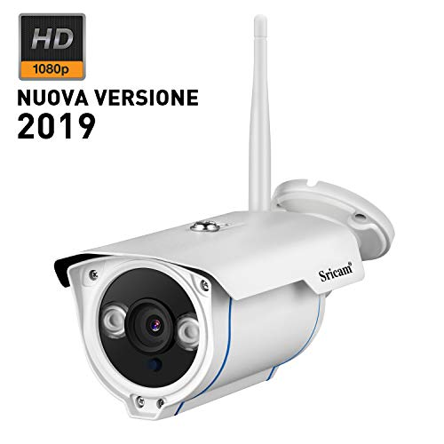 Sricam SP007 Telecamera di Sorveglianza WIFI Esterno Supporto NVR Onvif 1080P IP CCTV Camera IP66 Impermeabile, Visione Notturna, Bianco