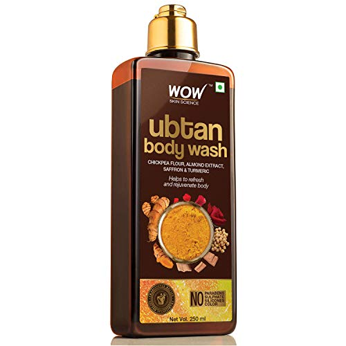 WOW Skin Science Ubtan Body Wash with Chickpea Flour, Almond Extract, Saffron & Turmeric Extracts - No Sulphate, Parabens, Silicones & Color, 250 ml