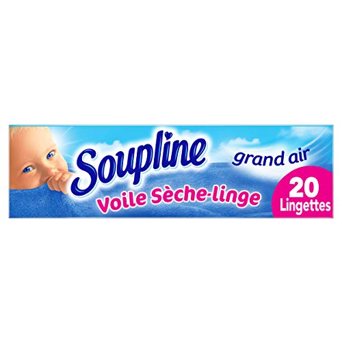 SOUPLINE - Voiles Sèche-Linge Adoucissants Grand Air - Parfument agréablement le Linge - Lingettes à Disposer dans le Sèche-Linge