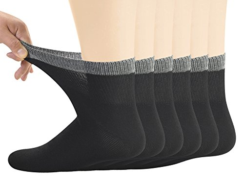Yomandamor Men's Bamboo Diabetic Ankle Socks with Seamless Toe and Non-Binding Top,6 Pairs L Size(10-13)