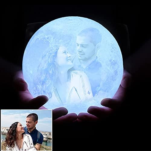 Mond Lampe 3D Personalisiert (Foto Text Muster) Durchmesser 18 cm LED Zimmer Deko Licht 16 Farben...