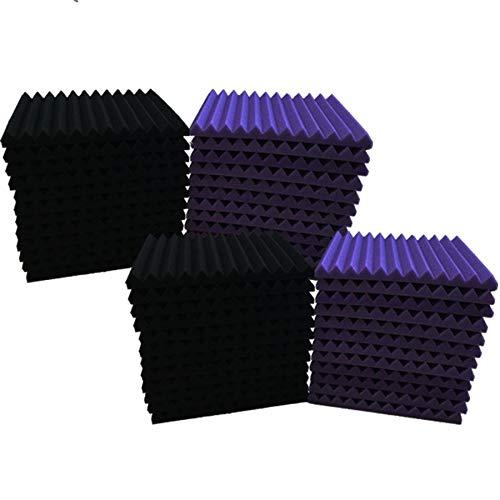 48 Pack purple BLACK 1' x 12' x 12' Acoustic Wedge Studio Foam...
