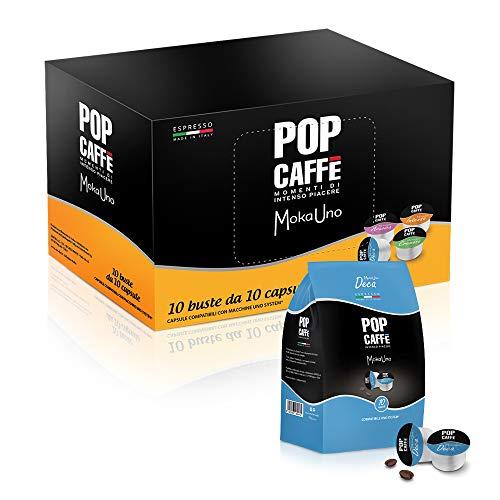 Pop Caffè - Moka uno Decaffeinato 100 capsule compatibili Uno System, Illy e Kimbo