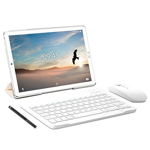 Tablet 10 pollici YESTEL Tablet Android 10.0 con 4 GB di RAM + 64 GB di ROM - WiFi   Bluetooth   GPS, 8000 mAH, con mouse   Tastiera e Cover-Argento