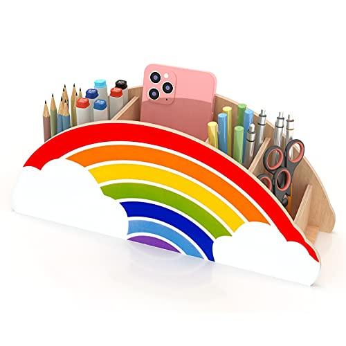 Gamenote Wooden Pen Holder & Pencil Holders - Rainbow Supply Caddy...