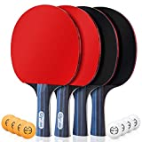 Glymnis Ping Pong Paddle Set of 4 Premium Table Tennis Rackets Set with 8 Professional Game Balls and Portable Cover Case Bag for Professional Indoor Outdoor
