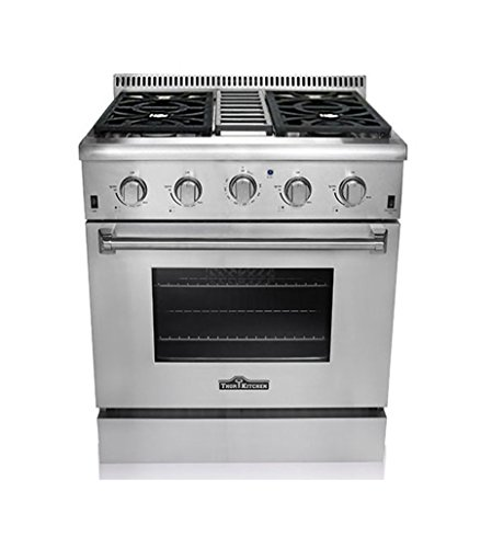 Thor Kitchen HRG3080U 30' Freestanding Professional Style Gas Range with 4.2 cu. ft. Oven, 4 Burners, Convection Fan, Cast Iron Grates, and Blue Porcelain Oven Interior, in Stainless Steel
