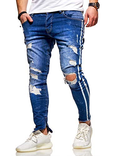 behype. Herren Destroyed Stretch Jeans-Hose im Used-Look mit...