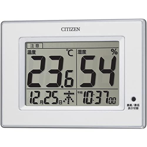 CITIZEN シチズン 温度計 湿度計 時計付き ライフナビD200A 白 10.5×14.5×2.4cm 8RD200-A03