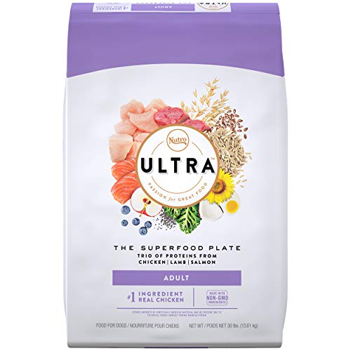 NUTRO ULTRA Adult High Protein Natural Dry Dog Food with a Trio of Proteins from Chicken, Lamb and Salmon, 30 lb. Bag