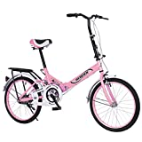 20 inch Folding Bike for Women│Ultra-Light Portable Women Mini Protable City Commuter Bike│High Tensile Complete Cruiser Bikes for Adults│US in Stock (Pink)