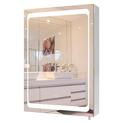 Homfa LED Spiegelschrank Edelstahl Badspiegel Badezimmerspiegel Lichtspiegel Wandspiegel mit Beleuchtung Berührung Sensorschalter 50x13x72cm