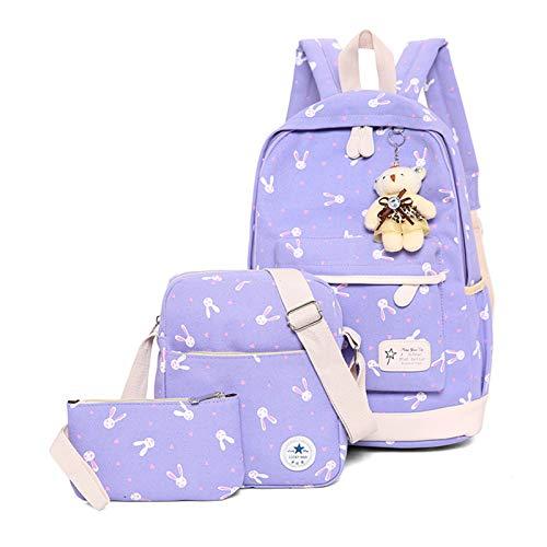 Zaino Scuola USAMYNA 3 Set Per Bambini Marshmello Borsa Da Scuola Pratica Da 17 Pollici Per Scuola Borsa Pratica Per Adolescenti e Studenti (colore D)