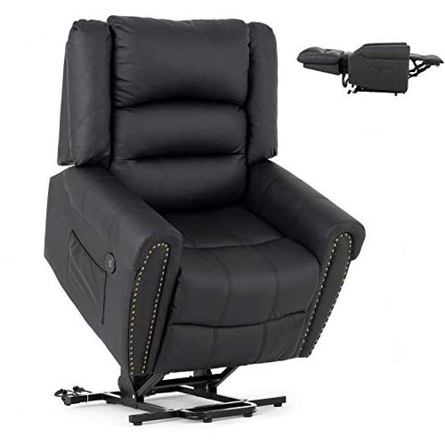 Mecor Power Lift Chair Lift Recliner for Elderly w/Dual Motor PU Leather Lay Flat Sleeper Recliner with Massage/Heat/Vibration/Remote Control for Living Room