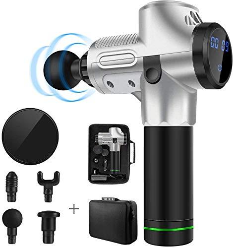 Schnurloses Percussion-Massagegerät, Muskelmassagepistole, massage gun,handgehaltenes Tiefenmassagegerät für tiefes Gewebe, ultra-leise Faszienpistole mit 4 Massageköpfen und LCD-Display (Roségold)