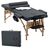 Massage Table Massage Bed Spa Bed 73' Heigh Adjustable 2 Folding Portable Massage Table W/Sheet Cradle Bolsters Hanger Facial Salon Bed