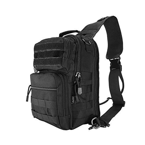 ProCase Zaino Tattico da Spalla, Zaino Monospalla da Uomo Sling Bag per Hiking, la Caccia, il Trekking e il Campeggio -Nero