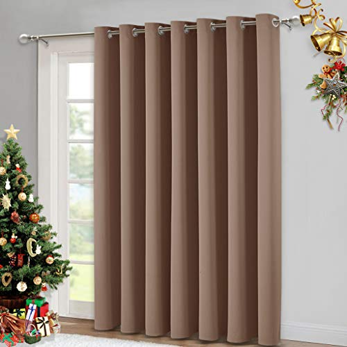 NICETOWN Patio Blind Blackout Curtain Panels - Extra Wide Curtains, Sliding Door Insulated Drape, Soundproof Room Divider Curtains (Cappuccino, 100 x 95 Inch)