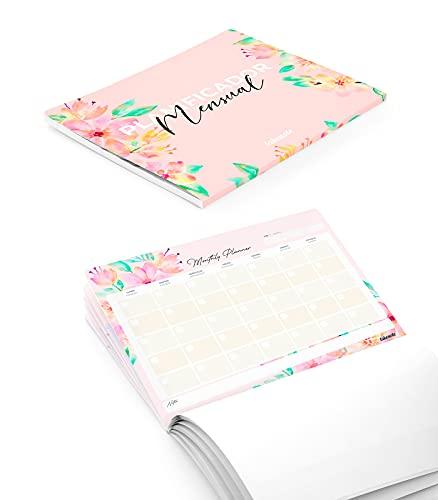 Takenote Agendas- Planificador Mensual Perpetuo Bloom - 31,5 x 23 cm - 56 hojas - Encolado inferior