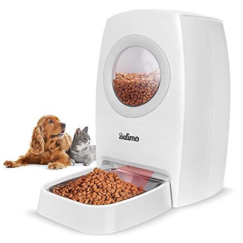 Balimo 6L Automatischer Futterautomat für Katze und Hund, Automatischer Futterspender mit Programmierbar Timer,LCD Bildschirm und Ton-Aufnahmefunktion Bis zu 4 Mahlzeiten pro Tag