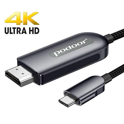 USB C auf HDMI Kabel, PODOOR 4K USB Typ C zu HDMI Kabel Thunderbolt 3 kompatibel für MacBook Pro 2019/2018/2017, MacBook Air/iPad Pro 2019/2018, Honor 10, Samsung S10 Grau 1.8m/6ft