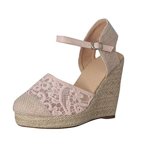 Minetom Mujer Sandalias de Plataforma Tacón Alto Cuña Elegante Encaje Alpargatas Espadrilles Hebilla Chancletas Zapatillas Confort Transpirable Zapatos de Verano Rosa 36 EU