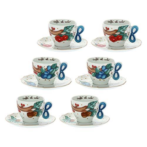 THUN - Set 6 Tazzine caffè - Accessori Cucina - Linea Chiaro di Luna - Porcellana