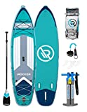 iROCKER Cruiser Inflatable Stand Up Paddle Board 10'6' Long 33' Wide 6' Thick SUP Package | Teal 2020