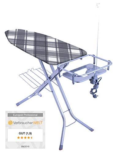 XXL Eurogold Profi Bügeltisch 'Professional Harmony' 130 x 48 cm - mit absenkbarer Ablage für Dampfstationen - Qualität Made in Europe