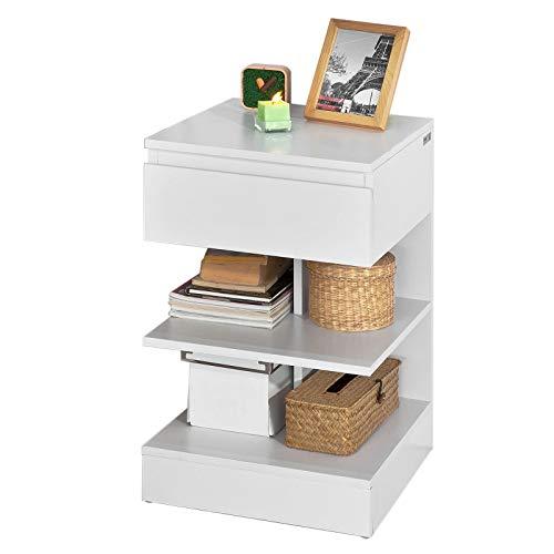 SoBuy Tavolino da divano, tavolino da soggiorno, Comodini letto,con cassetto,FBT49-W,IT