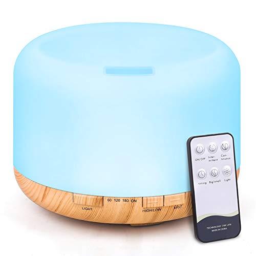 TENSWALL - Diffusore di aromi, 500 ml, umidificatore a ultrasuoni, con telecomando, nebulizzatore...