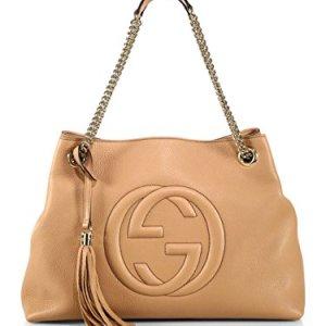 Gucci Camelia Camel Pebbled Leather Soho Shoulder Hand Bag Tassel 9