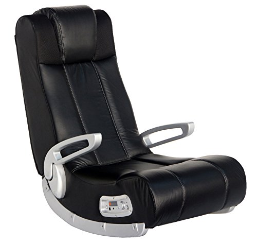 X Rocker II Wireless SE 2.1 Video Gaming Rocking Foldable Floor Chair with 2 Speakers and 4' Subwoofer with Port - Highback, Headrest, Pivoting Armrests - Black/Silver, 5127301