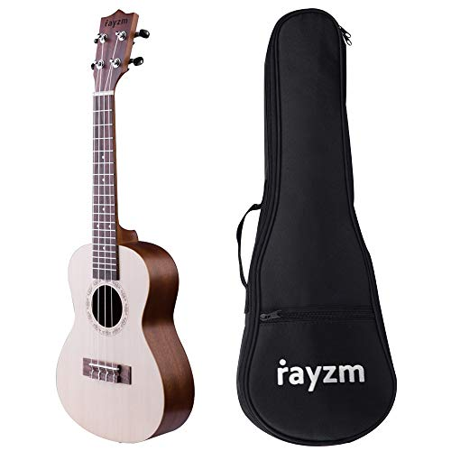 "Rayzm Concert Ukulele with Bag, Entry-Level 23 Inch Ukulele with Original Aquila Nylon Strings, Spruce Top, Sapele Side & Back, Closed Chrome-Plated Tuning Pegs, Matte Finish (23"")"