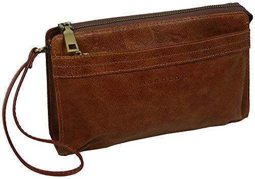 HAROLD\'S Echtleder Handgelenktasche mit abnehmbarer Schlaufe - praktische Herren-Handtasche aus weichem, hochwertigem Leder