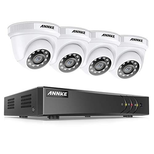 ANNKE 5MP 8 canales DVR Sistema de seguridad Kit de cámara de videovigilancia 4 cámaras 1080p IP66 Sistema de visión nocturna 36 LED IR para seguridad sin HDD