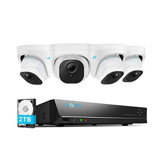 Reolink 5MP Kit Videosorveglianza IP Poe, Intelligente Rilevamento di Persone e Veicoli, 8CH 2TB 4K NVR e 4X 5MP Telecamera Esterno Impermeabile, Visione Notturna, Registrazione 24/7, RLK8-520D4-A