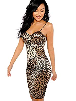 95% polyester + 5% spandex, fabric touches comfortable Sleeveless, leopard print,bodycon dress, cami dress, strappy, zipper, padding, bustier, zipper back Great for casual wear,summer, vacation, party,club, for nightout Adjustable spaghetti strap dre...