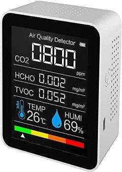 Détecteur de qualité de l'air portable Mesure de CO2 Mesure de température numérique Testeur d'humidité Détecteur de dioxyde de carbone TVOC Formaldeide HCHO