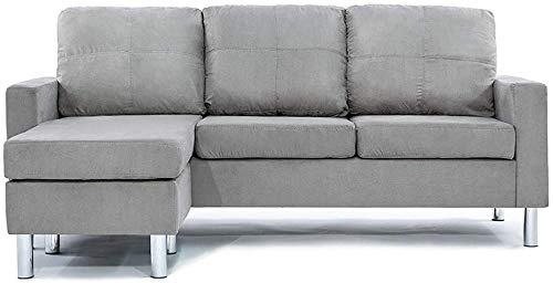 Convertible Sectional Sofa Couch with Reversible Chaise, L-Shaped Couch with Modern Linen Fabric for Small Space (Dark Grey)