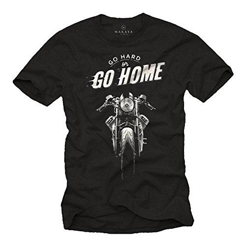 Camiseta Hombre Manga Corta - Cafe Racer - T-Shirt Moto Guzzi Negra XL