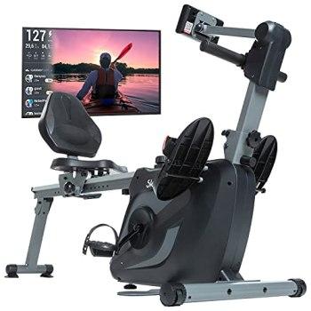 Skandika Vinur appareil finess 3 en 1 rameur, vélo semi-couché, musculation - Pliable, masse d'inertie de 8 kg, système de freinage magnétique, accès VIP-Kinomap - Max. 120 kg