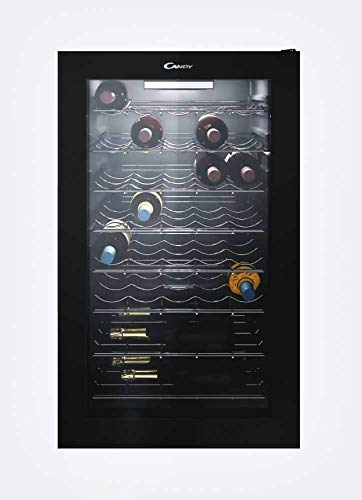 CANDY CWC150EU Vinoteca 41 Bouteilles, lumières LED, 6 étagères chromées et 2 Wine Racks, Silencieux, Commandes mécaniques de température, Porte réversible, 121 L, 39 décibels, Noir