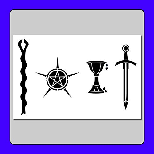 8 X 12 inch Tarot Card Suits/Symbols Stencil Template...