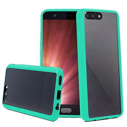 Orzly Funda OnePlus 5, Fusion [Anti-Shock] Bumper Case - Funda para el OnePlus 5 (2017 Modelo Smartphone) – Dura Cubierta Trasera (100% Transparente) con Bordes en Verde Que absorben los Impactos