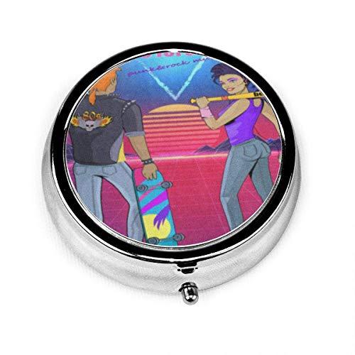 Astuccio per pillole rotondo con 3 scomparti 80S Forever Punk Rock Music Man In Jacket Boom Box...