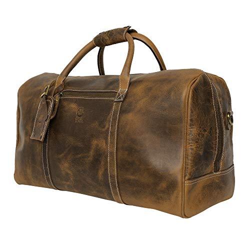 Rustic Town Sac de Voyage Cuir véritable Grand 51 cm fourre-Tout Besace Week-End Sac Sport Bagages Cabine à Main (Marron)