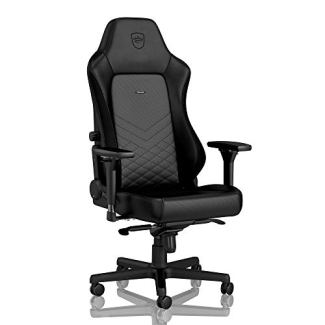 noblechairs Hero Gaming Chair - Office Chair - Desk Chair - PU Leather - 330 lbs - 135° Reclinable - Lumbar Support - Racing Seat Design - Black