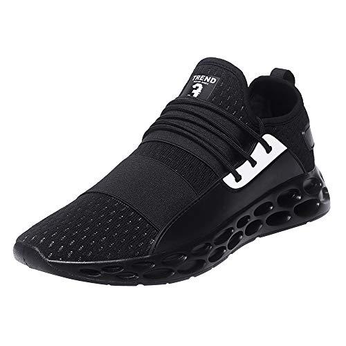 Logobeing Zapatos Hombre Deportivos Casuales Zapatillas Deporte Hombres Running Zapatillas de Tenis de Hombre para Adulto Zapatillas de Deporte de Encaje Ligero y Transpirable(42,Negro)
