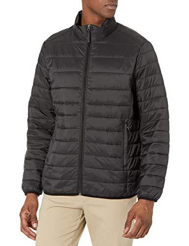Amazon Essentials Men's Lightweight Water-Resistant Packable Puffer Jacket, Black, Large